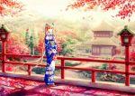 1girl aqua_eyes aqua_hair blue_kimono floral_print flower hair_flower hair_ornament hare_(qing) hatsune_miku japanese_clothes kimono long_hair obi sash solo twintails very_long_hair vocaloid