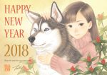 1girl 2018 animal bangs berries black_eyes blue_eyes blunt_bangs chinese_zodiac dog english_text hug leaf long_sleeves looking_at_viewer nengajou new_year original pink_sweater plant smile sweater takigraphic year_of_the_dog