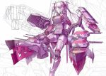 1girl artist_name azur_lane bangs breasts cannon commentary double-breasted english_commentary finger_to_mouth glowing glowing_eyes hair_over_one_eye highres iron_cross kreuzer_00 large_breasts leg_up long_hair mecha_musume mechanical multicolored_hair no_mouth prinz_eugen_(azur_lane) rigging signature solo standing standing_on_one_leg streaked_hair thigh-highs two_side_up white_hair yellow_eyes zettai_ryouiki
