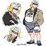 1boy artist_name clenched_teeth crossed_arms gold_necklace grey_footwear grey_shorts gym_leader hands_in_pockets highres jewelry makuwa_(pokemon) male_focus multicolored_hair necklace plump pokemon pokemon_(game) pokemon_swsh shorts simple_background starnivorous sunglasses sweatdrop teeth two-tone_hair two-tone_jacket white_background