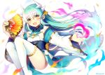 1girl dragon_girl dragon_horns fan fate/grand_order fate_(series) green_hair holding holding_fan horns japanese_clothes kimono kiyohime_(fate/grand_order) looking_at_viewer minamo25 obi open_mouth sash short_kimono smile solo thigh-highs white_legwear wide_sleeves yellow_eyes