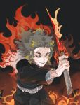 1boy belt blonde_hair cape cowboy_shot dark fire flame_print flame_sword flaming_weapon fuji_(c-b-s) grey_hair grin heterochromia highres holding holding_sword holding_weapon kimetsu_no_yaiba long_hair long_sleeves looking_at_viewer male_focus mismatched_sclera outstretched_arm red_eyes rengoku_kyoujurou ringed_eyes smile solo sword uniform veins weapon yellow_eyes
