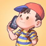 1boy ape_(company) arm_behind_back backpack bag baseball_cap black_eyes black_hair cellphone child closed_mouth earthbound earthbound_(series) hal_laboratory_inc. hat kid male_focus mother_(game) mother_2 ness ness'_father nintendo orange_background phone pockypalooza red_headwear shirt simple_background smartphone solo sora_(company) striped striped_shirt super_smash_bros. t-shirt upper_body yellow_pupils
