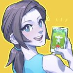 1girl adult black_hair blue_eyes cellphone creatures_(company) game_freak gen_3_pokemon highres lavender_pupils looking_at_viewer looking_back meditite nintendo nintendo_ead olm_digital outline phone playing_games pockypalooza pokemon pokemon_(anime) pokemon_(game) pokemon_go pokemon_rse ponytail smartphone solo sora_(company) super_smash_bros. upper_body upper_teeth white_skin wii_fit wii_fit_trainer yellow_background yellow_outline