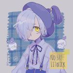 1girl candle character_name creature_and_personification gen_5_pokemon grey_hair grey_outline hair_over_one_eye hat highres litwick looking_at_viewer mameeekueya number personification plaid plaid_background pokemon pokemon_number short_hair solo twitter_username upper_body yellow_eyes