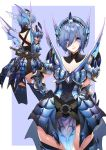 1girl armor armored_dress blue_eyes blue_hair blush breasts cleavage highres lips monster_hunter monster_hunter:_world rathalos_(armor) short_hair solo sptuel sword weapon