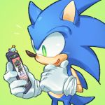 1boy amused animal cellphone chao_(sonic) chin_stroking deviantart furry gloves green_background green_eyes hedgehog highres male_focus mammal original_character phone pockypalooza sega simple_background smartphone solo sonic sonic_team sonic_the_hedgehog sonicluvr100 sora_(company) super_smash_bros. white_gloves yellow_pupils