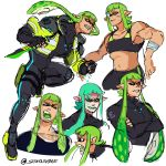 1girl bangs blunt_bangs bodysuit combat_knife domino_mask green_hair highres holding holding_knife holding_weapon inkling knife long_hair mask muscle muscular_female open_mouth pink_eyes pointy_ears simple_background solo splatoon_(series) squidbeak_splatoon starnivorous tentacle_hair weapon white_background