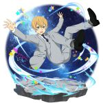 1boy black_footwear blonde_hair blue_eyes blue_neckwear collared_shirt eugeo flying full_body grey_jacket grey_legwear grey_pants hair_between_eyes highres jacket male_focus microphone necktie official_art open_clothes open_jacket open_mouth outstretched_arms pants shirt sky socks solo star star_(sky) starry_sky striped sword_art_online transparent_background vertical-striped_jacket vertical-striped_pants vertical_stripes white_shirt wing_collar