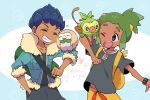 bangs_pinned_back dark_skin dark_skinned_male hau_(pokemon) hop_(pokemon) mikanbako_(aitatadon3) pokemon pokemon_(game) pokemon_sm pokemon_swsh