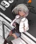 1girl absurdres alternate_costume bangs black_bodysuit black_hairband black_legwear black_ribbon blush bodysuit bodysuit_under_clothes breasts casual closed_mouth coat covered_navel crop_top dark_skin day eyebrows_visible_through_hair feet_out_of_frame from_above grey_eyes grey_shorts hair_ribbon hairband hands_in_pockets highres long_sleeves looking_at_viewer looking_up open_clothes open_coat outdoors pavement pn_pixi pokemon pokemon_(game) pokemon_swsh ribbon road saitou_(pokemon) short_hair short_shorts shorts silhouette sitting skid_mark small_breasts solo street thigh-highs torn_clothes torn_shorts white_coat
