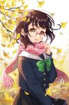 1girl :d black_shirt black_skirt blurry blurry_background blush bow brown_hair commentary_request depth_of_field fringe_trim ginkgo ginkgo_leaf glasses green_bow hand_up highres long_sleeves looking_at_viewer mole nekozuki_yuki open_mouth original over-rim_eyewear pink-framed_eyewear pink_scarf plaid plaid_scarf pleated_skirt sailor_collar scarf school_uniform semi-rimless_eyewear serafuku shirt signature skirt sleeves_past_wrists smile solo tree_branch white_sailor_collar yellow_eyes