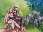 1boy 1girl :d bike_shorts black_jacket black_legwear black_pants black_shorts blue_eyes blurry_foreground brown_hair closed_eyes collared_jacket day fingerless_gloves gloves green_bandana haruka_(pokemon) hat highres jacket medium_hair mu_acrt open_mouth orange_jacket outdoors pants pants_under_shorts pokemon pokemon_(game) pokemon_rse shiny shiny_clothes short_sleeves shorts signature sitting sleeveless sleeveless_jacket smile socks white_headwear wing_collar yuuki_(pokemon)
