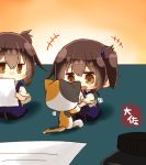 +++ 2girls :d animal artist_name black_legwear blue_hakama blush brown_eyes brown_hair cat dual_persona eyebrows_visible_through_hair hair_between_eyes hakama hakama_skirt highres holding holding_paper japanese_clothes kaga_(kantai_collection) kantai_collection motion_lines multiple_girls open_mouth paper short_hair side_ponytail smile taisa_(kari) tasuki thigh-highs