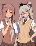 2girls :o alternate_costume amatsukaze_(kantai_collection) armband atsutoku blush brown_background brown_eyes brown_hair brown_skirt collared_shirt eyebrows_visible_through_hair glasses gloves hair_between_eyes hair_ornament hair_ribbon hairband hand_on_hip hands_together highres holding kantai_collection long_hair multiple_girls necktie open_mouth pleated_skirt ponytail red_neckwear ribbon school_uniform shirt short_sleeves silver_hair simple_background single_glove skirt two_side_up vest white_gloves white_shirt zuihou_(kantai_collection)