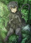 1girl :o absurdres animal_ear_fluff animal_ears bangs black_footwear black_gloves black_hair black_legwear black_leopard_(kemono_friends) black_shirt black_skirt elbow_gloves extra_ears eyebrows_visible_through_hair fang full_body gloves green_eyes grey_neckwear hair_between_eyes highres kakutasu_(akihiron_cactus) kemono_friends leopard_ears leopard_tail long_hair looking_at_viewer outdoors pantyhose paw_pose plant pleated_skirt shirt shoes short_sleeves skirt solo tail twintails