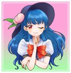 1girl black_headwear blue_hair bow bowtie eyebrows_visible_through_hair food fruit gradient gradient_background hand_on_own_chin hat highres hinanawi_tenshi leaf long_hair looking_at_viewer mito_(mo96g) one_eye_closed peach puffy_short_sleeves puffy_sleeves red_eyes red_neckwear shirt short_sleeves solo touhou upper_body white_shirt