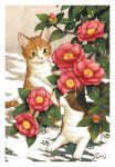 animal branch cat cat_focus flower green_eyes leaf looking_at_another no_humans original paw_print pink_flower plant signature snowing takigraphic yellow_eyes