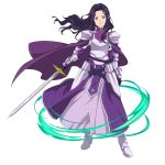 1girl armor armored_boots armored_dress black_gloves boots breastplate cape closed_mouth dress fanatio_synthesis_two floating_hair full_body gloves hair_intakes highres holding holding_sword holding_weapon layered_dress long_dress long_hair looking_at_viewer official_art purple_cape purple_dress purple_hair shiny shiny_hair shoulder_armor smile solo spaulders standing sword sword_art_online transparent_background weapon white_footwear yellow_eyes