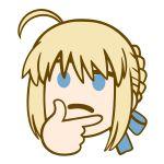1girl ahoge artoria_pendragon_(all) blonde_hair blue_eyes emoji emoticon fate/grand_order fate/stay_night fate_(series) frown hair_ribbon hand_on_own_chin meme ribbon saber short_hair thinking thinking_emoji tsukumo