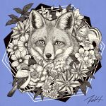 animal bird blue_background flower fox greyscale hexagon leaf looking_at_viewer monochrome no_humans original signature simple_background squirrel takigraphic