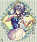 1girl apron bangs black_border blue_dress blue_eyes border bow bowtie braid breasts chain commentary dress frilled_apron frills green_bow green_neckwear hair_between_eyes hair_bow hands_up hikitsu_juusou holding holding_knife holding_weapon izayoi_sakuya knife lips looking_at_viewer maid maid_apron maid_headdress medium_breasts pocket_watch puffy_short_sleeves puffy_sleeves shirt short_hair short_sleeves silver_hair smile solo striped striped_background touhou twin_braids vertical-striped_background vertical_stripes waist_apron watch weapon white_apron white_shirt wrist_cuffs