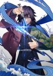 1boy aura belt blue_eyes closed_mouth hakama haori highres japanese_clothes katana kimetsu_no_yaiba looking_to_the_side sheath sword tefco tomioka_giyuu uniform unsheathing water weapon white_belt