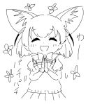 1girl ^_^ animal_ear_fluff animal_ears bangs blush bow clapping closed_eyes dot_nose extra_ears eyebrows_visible_through_hair facing_viewer fennec_(kemono_friends) flower fox_ears gloves greyscale hands_up happy kemono_friends monochrome motion_lines onomatopoeia open_mouth panzuban pleated_skirt puffy_short_sleeves puffy_sleeves scarf short_hair short_sleeves simple_background sketch skirt smile solo sweater upper_body  d