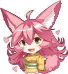 1girl :d ahoge animal_ear_fluff animal_ears bangs barefoot blush chibi commentary_request eyebrows_visible_through_hair fang fox_ears fox_girl fox_tail full_body green_eyes hair_between_eyes heart japanese_clothes kimono long_hair long_sleeves looking_at_viewer obi open_mouth original outstretched_arms pink_hair print_kimono sash simple_background smile solo spread_arms standing tail very_long_hair white_background wide_sleeves yellow_kimono yuuji_(yukimimi)