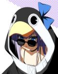 1girl animal_hood bangs bare_shoulders black_jacket blue_bow blue_eyes bow breasts choker closed_mouth collarbone fate/grand_order fate_(series) hair_between_eyes highres hood jacket licking_lips long_hair long_sleeves looking_at_viewer meltryllis meltryllis_(swimsuit_lancer)_(fate) penguin_hood purple_hair small_breasts smile solo sunglasses suzuri_(tennenseki) tongue tongue_out very_long_hair