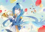 1girl absurdres animal balloon band_uniform blue_eyes blue_hair blue_headwear blue_jacket blue_sky bow bowtie clouds cloudy_sky commentary confetti day epaulettes floating_hair french_horn gloves hair_ornament half-closed_eyes hat hat_feather hatsune_miku highres holding holding_balloon holding_instrument horn_(instrument) huge_filesize instrument iren_lovel jacket light_blush long_hair looking_at_viewer open_mouth outdoors pleated_skirt rabbit rabbit_yukine rainbow skirt sky smile twintails upper_body very_long_hair vocaloid white_bow white_gloves white_skirt yuki_miku yuki_miku_(2020)