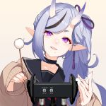 1girl absurdres binaural_microphone blue_hair ear_picking facing_viewer hair_ribbon highres horns long_hair realmbw ribbon rindou_mikoto side_ponytail sleeves_past_wrists solo violet_eyes