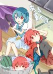 2girls blue_bow blue_eyes blue_hair blue_vest bow cape cover cover_page disembodied_head geta heterochromia highres holding holding_umbrella karakasa_obake multiple_girls puchimirin red_cape red_eyes redhead sekibanki shirt short_hair tatara_kogasa touhou umbrella vest white_shirt