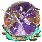 1girl armor armored_boots armored_dress black_gloves boots breastplate cape dress fanatio_synthesis_two floating_hair full_body gloves highres holding holding_sword holding_weapon layered_dress long_dress long_hair looking_at_viewer official_art purple_cape purple_dress purple_hair shiny shiny_hair shoulder_armor solo spaulders standing sword sword_art_online transparent_background weapon white_footwear