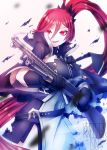 1girl absurdres artist_name azur_lane bangs black_gloves cape commentary english_commentary gloves glowing glowing_eyes grin gun hair_between_eyes highres holding holding_gun holding_weapon kreuzer_00 long_hair long_ponytail maryland_(azur_lane) necktie open_mouth ponytail red_eyes redhead shell_casing shotgun signature simple_background smile smoke smoking_gun solo torn_clothes weapon white_background