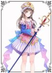 1girl atelier_(series) atelier_totori bangs blue_sleeves blush brown_eyes brown_hair collarbone commentary_request detached_sleeves dress eyebrows_visible_through_hair feet_out_of_frame gem hat holding holding_staff long_hair looking_at_viewer pink_dress simple_background smile solo staff totooria_helmold white_background yeong