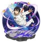 1boy astronaut astronaut_helmet black_eyes black_hair boots closed_mouth collarbone flying full_body gloves highres kirito looking_at_viewer male_focus official_art outstretched_arms pants shiny shiny_hair sky smile solo star star_(sky) starry_sky sword_art_online transparent_background white_footwear white_pants