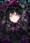 1girl achiki arms_up black_dress black_hair breasts closed_mouth dress expressionless floral_print flower leaf long_hair looking_at_viewer original petals pink_eyes purple_flower purple_ribbon ribbon rose small_breasts solo upper_body