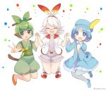 3girls :d :o bandaid bandaid_on_nose bangs blue_dress blue_eyes blue_footwear blue_hair blue_headwear blunt_bangs bow closed_eyes dress error facing_viewer green_bow green_hair grookey hair_bow hair_ornament hair_stick hairband hat highres holding_hand jumping looking_at_viewer multiple_girls open_mouth orange_footwear ougi_hina parted_bangs personification pokemon red_hairband scorbunny shorts simple_background smile sobble twitter_username white_background