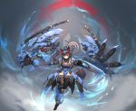 1girl absurdres animal_ears armor blue_theme bodysuit brown_hair dual_wielding extra_arms facial_tattoo full_body halo headgear highres holding long_hair looking_at_viewer mecha mecha_musume number_tattoo original red_eyes signature skin_tight smile solo syaha tail tattoo thigh-highs tsurime