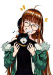 1girl absurdres animal arad_baranga black-framed_eyewear cat closed_eyes fur_trim glasses green_jacket headphones highres jacket long_hair morgana_(persona_5) morgana_(school_girl_strikers) orange_hair persona persona_5 sakura_futaba