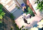 1boy arisugawa_dice beads blurry bowl bread cat day depth_of_field door dutch_angle eating food from_side fur_trim gpnet green_jacket hair_over_one_eye highres hypnosis_mic jacket long_sleeves looking_at_viewer looking_to_the_side male_focus milk_carton outdoors pants pet_bowl plant plastic_wrap potted_plant red_eyes shade shadow shoes short_hair_with_long_locks squatting v-neck