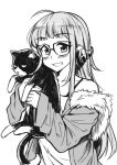 1girl ahoge animal bangs blush cat collar collarbone eyebrows_visible_through_hair flat_chest fur_collar greyscale grin headphones holding holding_cat long_hair loose_clothes monochrome morgana_(persona_5) off_shoulder peach_(momozen) persona persona_5 sakura_futaba smile