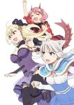 3girls :d ^_^ animal_ear_fluff animal_ears arm_up bangs black_bow black_footwear black_legwear blonde_hair blue_capelet blue_skirt blush boots bow braid breasts camilla_vanstein capelet closed_eyes commentary_request dragon_girl dragon_horns dragon_tail dress earrings elbow_gloves eyebrows_visible_through_hair fafnir_guildmelag_linda_blair_hanako fang fingerless_gloves frilled_dress frills fur-trimmed_capelet fur_trim gloves hair_between_eyes hair_bow high-waist_skirt high_heel_boots high_heels horns jewelry kemonomichi long_hair mattaku_mousuke medium_breasts multiple_girls nail_polish official_art open_mouth pink_hair puffy_short_sleeves puffy_sleeves purple_dress purple_nails red_dress red_eyes shigure_(kemonomichi) shirt short_sleeves silver_hair simple_background skirt small_breasts smile strapless strapless_dress stud_earrings tail thigh-highs very_long_hair white_background white_gloves white_shirt