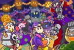 3boys basket candy cappy_(kirby) channel_ppp cosplay dark_nebula dark_nebula_(cosplay) food halloween halloween_costume hat horns king_dedede kirby kirby_(series) mask multiple_boys mummy_costume nightmare_(kirby) official_art pumpkin recording silver_hair taranza video_camera waddle_dee whispy_woods witch_hat