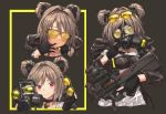 1girl adjusting_mask bangs between_breasts black_gloves black_jacket blush border breasts bullpup choker collarbone covered_mouth cropped_torso double_bun eyewear_on_head eyewear_removed gas_mask girls_frontline gloves gun hair_between_eyes hair_intakes highres holding holding_eyewear holding_gun holding_mask holding_weapon hood hood_down ivan_wang jacket jewelry looking_at_viewer mask mask_removed medium_breasts multiple_views open_clothes open_jacket p90 p90_(girls_frontline) partly_fingerless_gloves pendant red_eyes simple_background smile submachine_gun sunglasses trigger_discipline upper_body weapon yellow_border