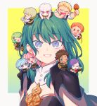 4boys 6+girls blonde_hair blue_eyes blue_hair braid brown_eyes brown_hair byleth_(fire_emblem) byleth_(fire_emblem)_(female) chibi claude_von_riegan closed_eyes closed_mouth crown_braid dark_skin dark_skinned_male fire_emblem fire_emblem:_three_houses flayn_(fire_emblem) from_side garreg_mach_monastery_uniform glasses green_eyes green_hair hair_ornament hilda_valentine_goneril ignatz_victor leonie_pinelli long_hair lorenz_hellman_gloucester lysithea_von_ordelia marianne_von_edmund medium_hair multiple_boys multiple_girls one_eye_closed onigiri_kue open_mouth orange_eyes orange_hair pink_eyes pink_hair purple_hair raphael_kirsten short_hair simple_background sitting twintails uniform upper_body violet_eyes white_hair