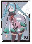 1girl alternate_costume black_legwear character_name commentary commission commissioner_upload english_commentary green_eyes greyscale hatsune_miku headphones jpeg_artifacts long_hair monochrome raincoat see-through short_shorts shorts shrug_(clothing) solo thigh-highs tim_loechner twintails very_long_hair vocaloid zoom_layer