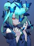 1girl bangs blue_butterfly blue_dress blue_sleeves bow brooch bug butterfly butterfly_on_head crying double_bun dress expressionless green_hair hair_between_eyes hair_ornament hololive insect izumi_sai jewelry looking_at_viewer one_eye_covered portrait red_eyes serious short_hair shoulder_cutout simple_background skull_collar skull_hair_ornament solo teardrop tearing_up tears uruha_rushia virtual_youtuber