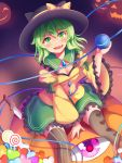 1girl :d bangs between_legs black_headwear blush bow candy commentary_request eyebrows_visible_through_hair fang food green_eyes green_hair hand_between_legs hat hat_bow heart highres holding jack-o'-lantern knife komeiji_koishi lollipop long_sleeves looking_at_viewer mismatched_legwear nagomian open_mouth puffy_long_sleeves puffy_sleeves sitting skirt smile solo striped striped_legwear swirl_lollipop third_eye touhou wide_sleeves yellow_bow
